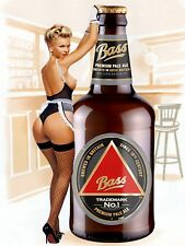 Bass Beer Pin Up, Retro metal Aluminium Vintage Sign, Man Cave, Bar/Pub