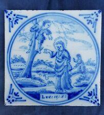 Antique 18thC.Dutch Delft Blue White Bible Biblical Religious Tile Luke 19:5