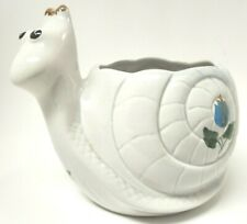 Snail Ceramic Planter with Flowers on Shell Pot Home Garden Decor