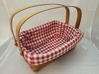 HERITAGE MINT DOUBLE HANDLE CANADIAN MAPLE BASKET CHECKERED RED CLOTH LINER EUC
