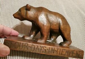 Vintage Hand Carved 1 pc of Wood Brown Bear Sculpture Early Folk Art Figurine