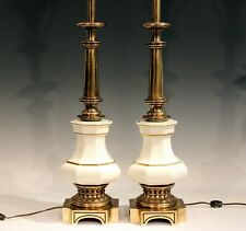 Vintage Stiffel Lamps Pair Large Brass Pottery MCM 1960s Signed Label
