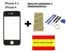 CRISTAL EXTERIOR PANTALLA FRONTAL + ADHESIVO + HERRAMIENTAS IPHONE 4 4S NEGRO