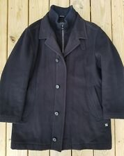 Men's HUGO BOSS Wool Cashmere Zipper Button Coxtan Peacoat Size 42R Black