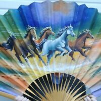 """Horses Bamboo Large Folding Fan Hand Painted Wall Art Vintage 60"""" x 35"""""""