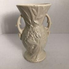 VTG McCOY Vase Floral Detail Berries 2 Handles ART POTTERY Glossy White Ivory