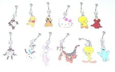 12 PIECE DISNEY SESAME STREET HELLO KITTY NAVEL BELLY RINGS WHOLESALE LOT 14g