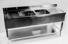 More details for stainless steel double bowl commercial restaurant catering sink 1800mm