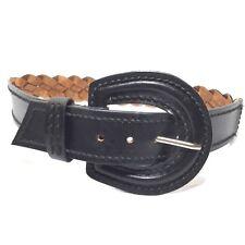 Women's Trendy Black Braided Huge Buckle Belt Size Small/Medium