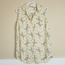 EQUIPMENT FEMME Silk Sleeveless Button Down Blouse Top Cream Stars Size Large L