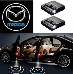2 pc Wireless Magnetic Car Door Logo Courtesy shadow Light Projector For Mazda