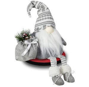 Bambelaa Wichtel mit Bart Deko Figur Weihnachten Dekoration Weihnachtsdeko Rote M/ütze Stehend Innen Filz Baumwolle 36 cm