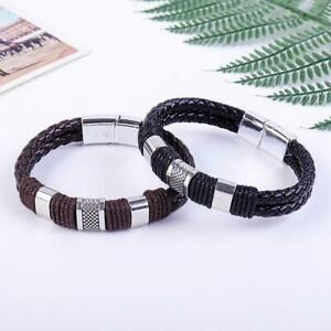 1PC Magnetic Man Charm Masculinity Leather Bracelet Strong