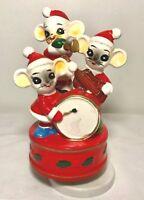 VTG SANKYO 3 Mice Mouse Band Rotating Music Box WISH YOU MERRY CHRISTMAS Japan