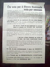 1948 Election Italian Block National Flyer George Bo By Sestri Rising