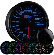 "95mm 3 3/4"" GlowShift Tinted 7 Color LED In Dash Speedometer Gauge - GS-T717"