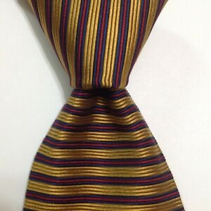 BROOKS BROTHERS Makers Men's Silk Necktie USA Designer STRIPED Gold/Blue/Red EUC