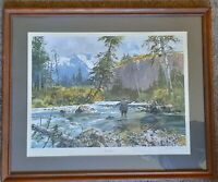 """John Cowan """"Fast Water"""" Signed & Numbered Limited Edition Fly-fishing Scene 1978"""