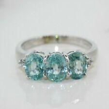 9ct White Gold Blue Topaz Three Stone Ring (Size N)