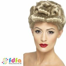 1940s WARTIME SHORT BLONDE CURLY PIN UP VINTAGE WIG - ladies fancy dress costume