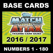 Match Attax 2016/17 16/17 Premier League BASE CARDS 2016 / 2017 1-180 TOPPS