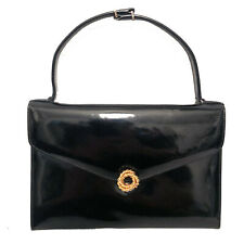 VINTAGE GUCCI SMALL BLACK PATENT LEATHER EVENING CLUTCH / HANDBAG