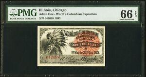 World's Columbian Exposition Ticket Indian Chief Ticket 1893, SUPERB, PMG 66-EPQ
