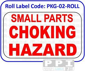 SMALL PARTS CHOKING HAZARD Red Labels Stickers On Roll Child Safety PKG-02-ROLL