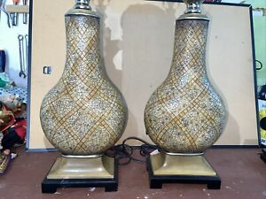 (2) Uttermost Lighting Bianca Ceramic Heavy Tall Table Lamps 35x9 flawless