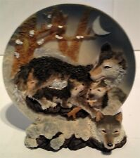 """Wolf / Wolves, 3D Plate On Stand ,Resin , Plate Is 5 1/2"""" Diameter"""