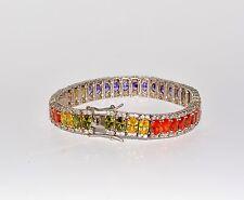 Armband, 925 Sterling Silber, Weißgold beschichtet, Mehrfarbige Cubic Zirconia