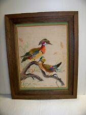 Colorful Phoenix Like Bird Needlepoint Wall Hanging Framed 16 x 20 Vintage