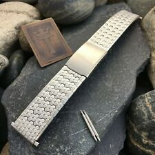 20mm 22mm Stainless Steel Honeycomb Speidel USA nos 1970s Vintage Watch Band