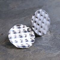 Vtg Hammered 925 Sterling Silver Round Studs Earrings