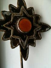 Tea Light holder decorative star/ flower LIGHT SHINES THROUGH CENTRE AMBER LIGHT