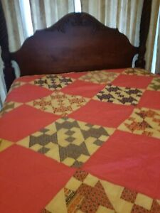 Antique Bed Cover Housewarming Gift Cream /& Light Gold Champagne Applique Vintage Dorm Coverlet Vintage Bedspread Padded Fill Coverlet