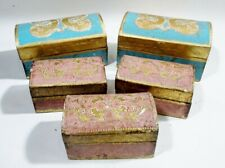 Midcentury Set 5 Italian Gilt Florentine Wooden Trinket Dresser Boxes Domed