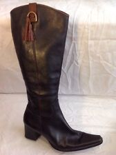 Tamaris Black Knee High Leather Boots Size 38