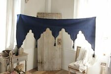 Antique French damask lambrequin valance textile blue wool passementerie