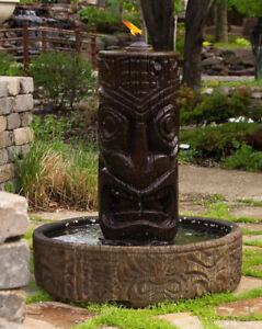 """44"""" Tiki Column Fountain - Outdoor Concrete Garden Fountain Feature Statue"""