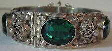 ORNATE VINTAGE STERLING SILVER FILIGREE FACETED EMERALD GREEN GLASS BRACELET