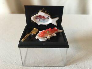 "Dollhouse Miniatures ""Reutter Porcelian"" Fish Shaped Platters with Fish"