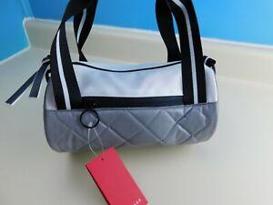 Rampage Small Purse Silver/White Mini Duffle Shoulder Bag NWT Spellout