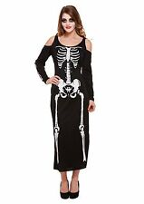 Halloween Ladies Skeleton Costume Long Black Fancy Dress One Size approx 10-14