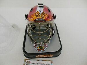 COREY CRAWFORD Signed CHICAGO BLACKHAWKS Goalie Mini Helmet w/SCHWARTZ COA