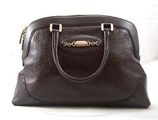 GUCCI Guccissima Leather 145784 Dark Brown Horsebit Shoulder Bag Purse