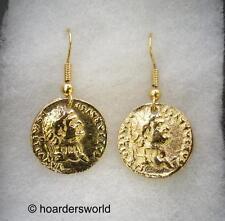 Moneda romana Pendientes. 22ct Oro Plateado, En Caja De Regalo (WA)