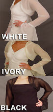 Bell Sleeve Chiffon Bridal Wedding Bolero Jacket /Trim