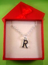 Funky inicial letra « R » Collar Caja De Regalo Lindo Kitsch actual encanto colgante
