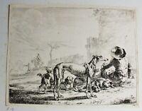 Radierung Dirck Stoop um 1651 Windhund mit Hirte, Handsigniert